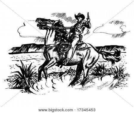 Cowboy zu Pferd - Retro ClipArt