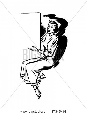 Showcard Woman - Retro Clip Art