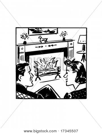 Fireside Chat - Retro Clip Art