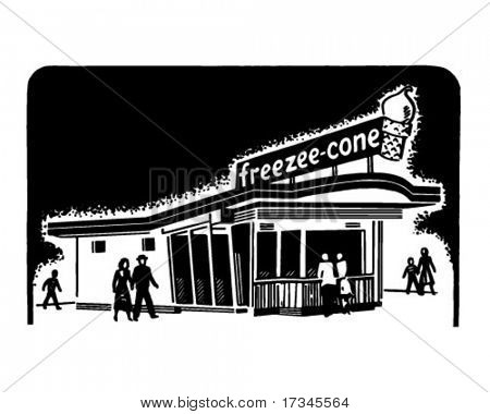 Ice Cream Shop - Retro Clip Art