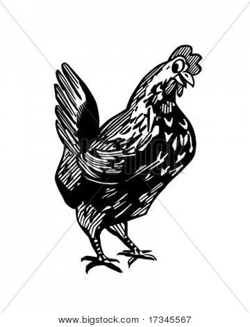Happy Chicken - Retro Clip Art