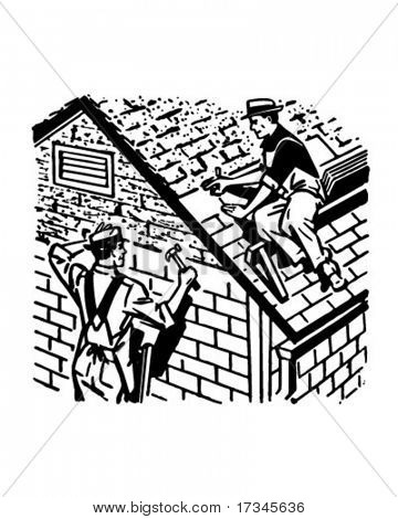 Roofers At Work - Retro Clip Art
