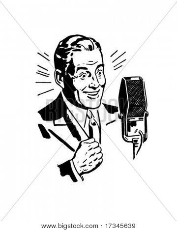 Radio Announcer 2 - Retro Clip Art