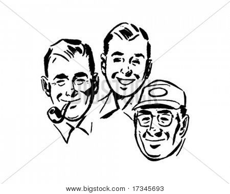 Three Swell Guys - Retro Clip Art