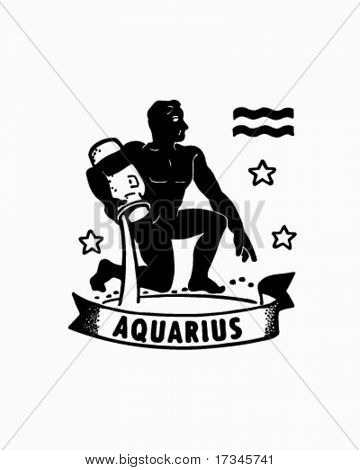 Zodiac - Aquarius - Retro Clip Art