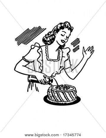 Woman Decorating Cake - Retro Clip Art