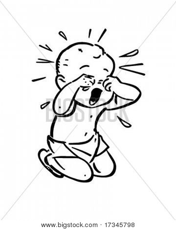 Baby Crying - Retro Clip Art