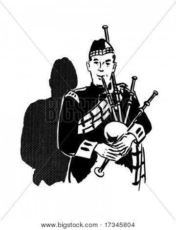 Flautista - Retro Clip-Art