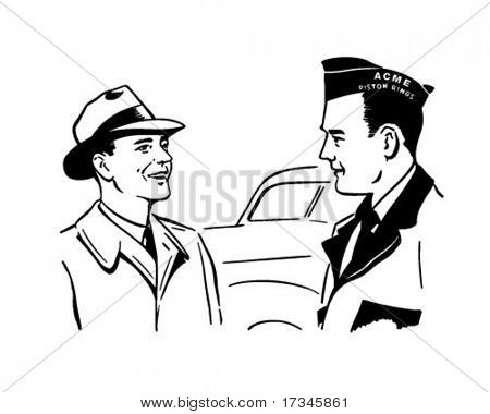 Chatting With The Mechanic - Retro Clip Art