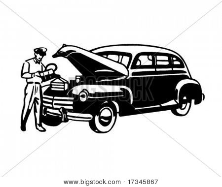 Changing Battery - Retro Clip Art