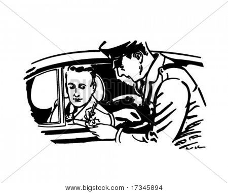 Cop Writing Ticket - Retro Clip Art