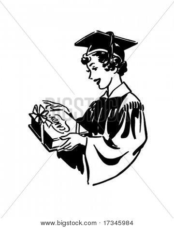 Grad With Candy - Retro Clip Art