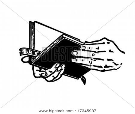 Hands With Bible - Retro Clip Art