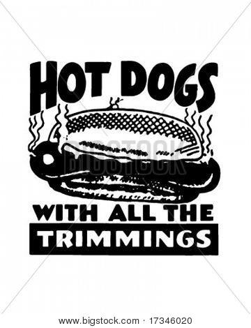 Hotdogs - Display-sinalização - Retro Clip-Art