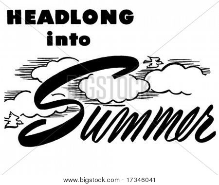 Headlong en verano - Ad encabezado - Retro Clip Art