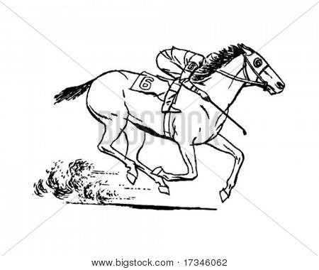 Jockey On Racehorse - Retro Clip Art