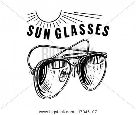 Mens Sunglasses With Sun - Retro Clip Art