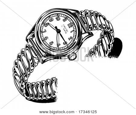 Mens Watch - Retro Clip Art