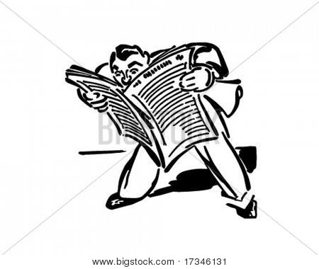 Man Reading Newspaper - Retro Clip Art