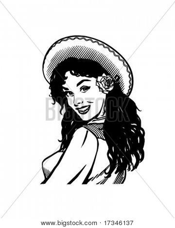 Mexican Beauty - Retro Clip Art