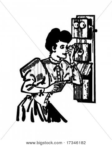 Old Fashioned Telephone - Retro Clip Art