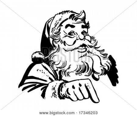 Santa Claus Pointing - Retro Clip Art