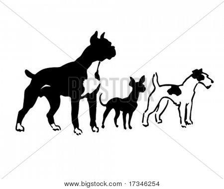 Tres razas de perros - Retro Clip Art