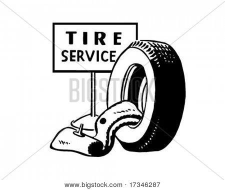 Tire Service - Ad Header - Retro Clip Art