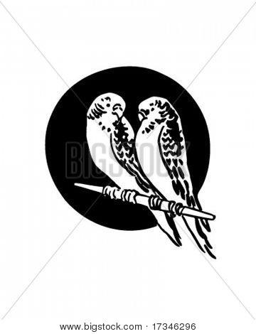 两只鸟-复古剪贴画