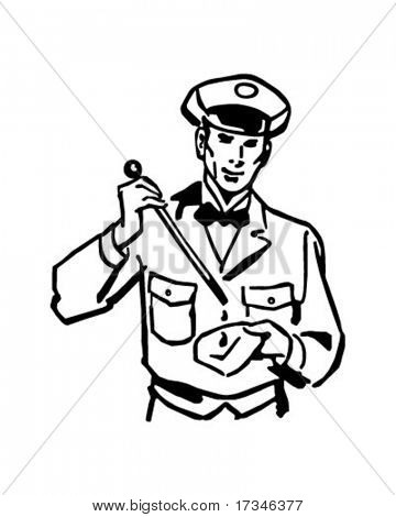 Checking The Oil - Service Station Attendant - Retro Clip Art