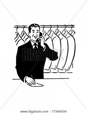 Coat Check Clerk - Retro Clip Art