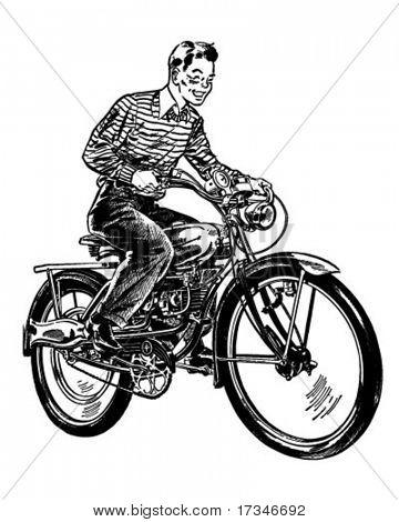 Bicicleta motorizada - ilustración imágenes prediseñadas Retro