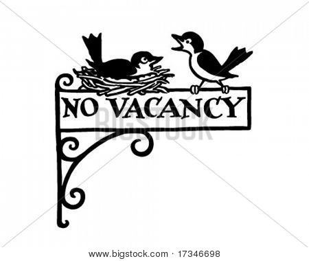 No Vacancy Sign - Retro Clipart Illustration