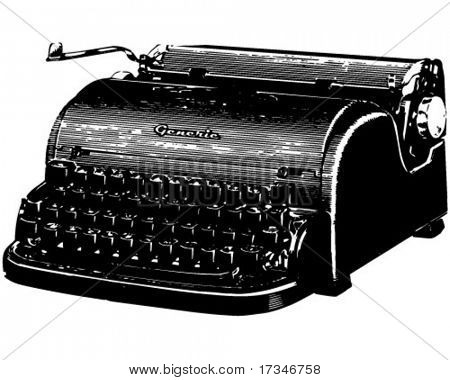 Old Typewriter - Retro Clipart Illustration