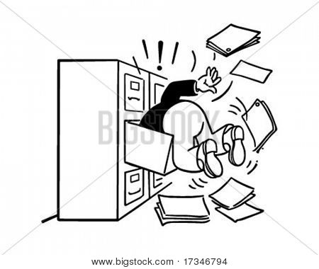 Searching The Filing Cabinet - Retro Clipart Illustration