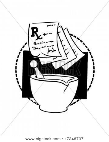 RX Slips And Mortar - Retro Clipart Illustration