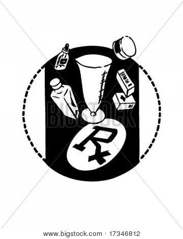 RX mit Praxisbedarf - Retro Clipart Illustration