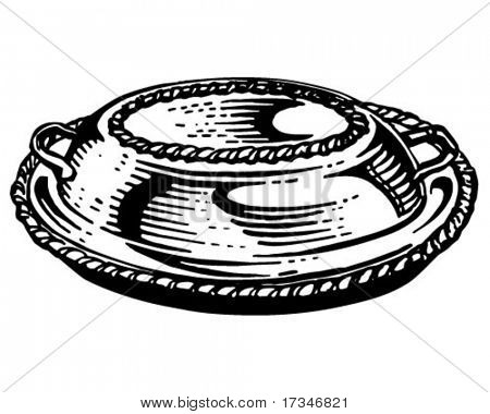 Silver Platter With Lid - Retro Clipart Illustration