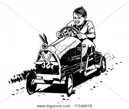 Soapbox Racer - Retro Clipart Illustration