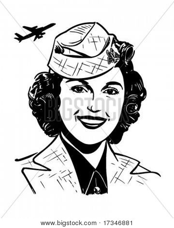 Stewardess - Retro Clipart Illustration