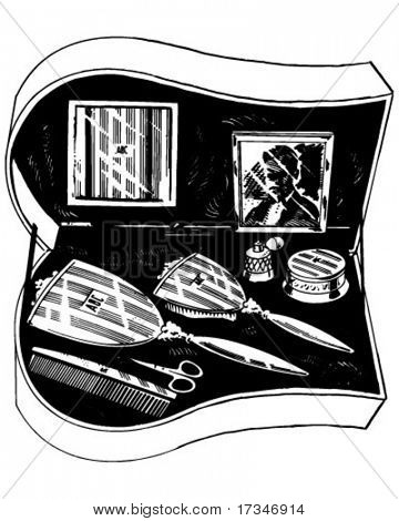 Conjunto de produtos de higiene pessoal - ilustração Clipart retrô