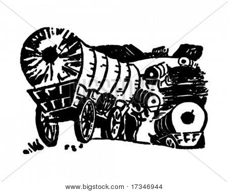 Wagon Train - Retro Clipart Illustration