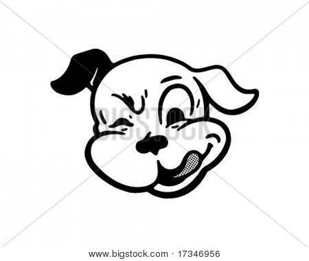 Zwinkerndes Hund - Retro Clipart Illustration