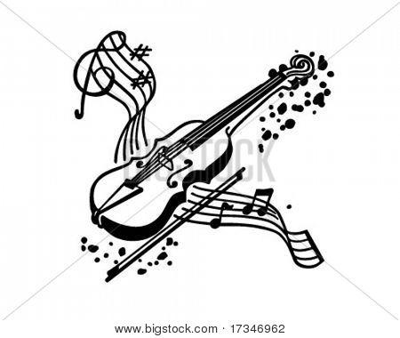 小提琴-复古剪贴画的插图