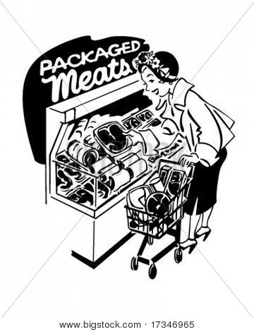 Woman Shopper At Meats - Retro Clipart Illustration