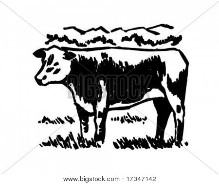 Cow - Retro Clipart Illustration