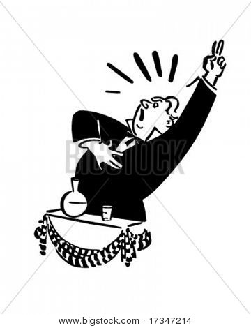 Politician Giving Speech - Retro Clipart Illustration