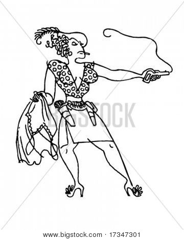 Gun Moll - Retro Clipart Illustration