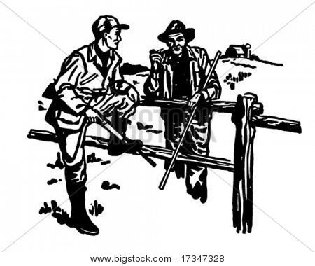 Hunter And Farmer Chatting - Retro Clipart Illustration