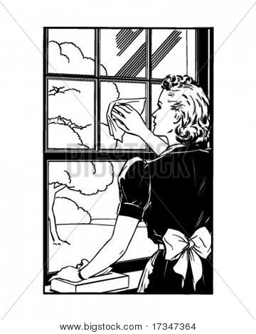 Lady Cleaning Window - Retro Clipart Illustration